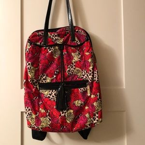 Betsey Johnson Leopard/Rose Print Backpack Purse